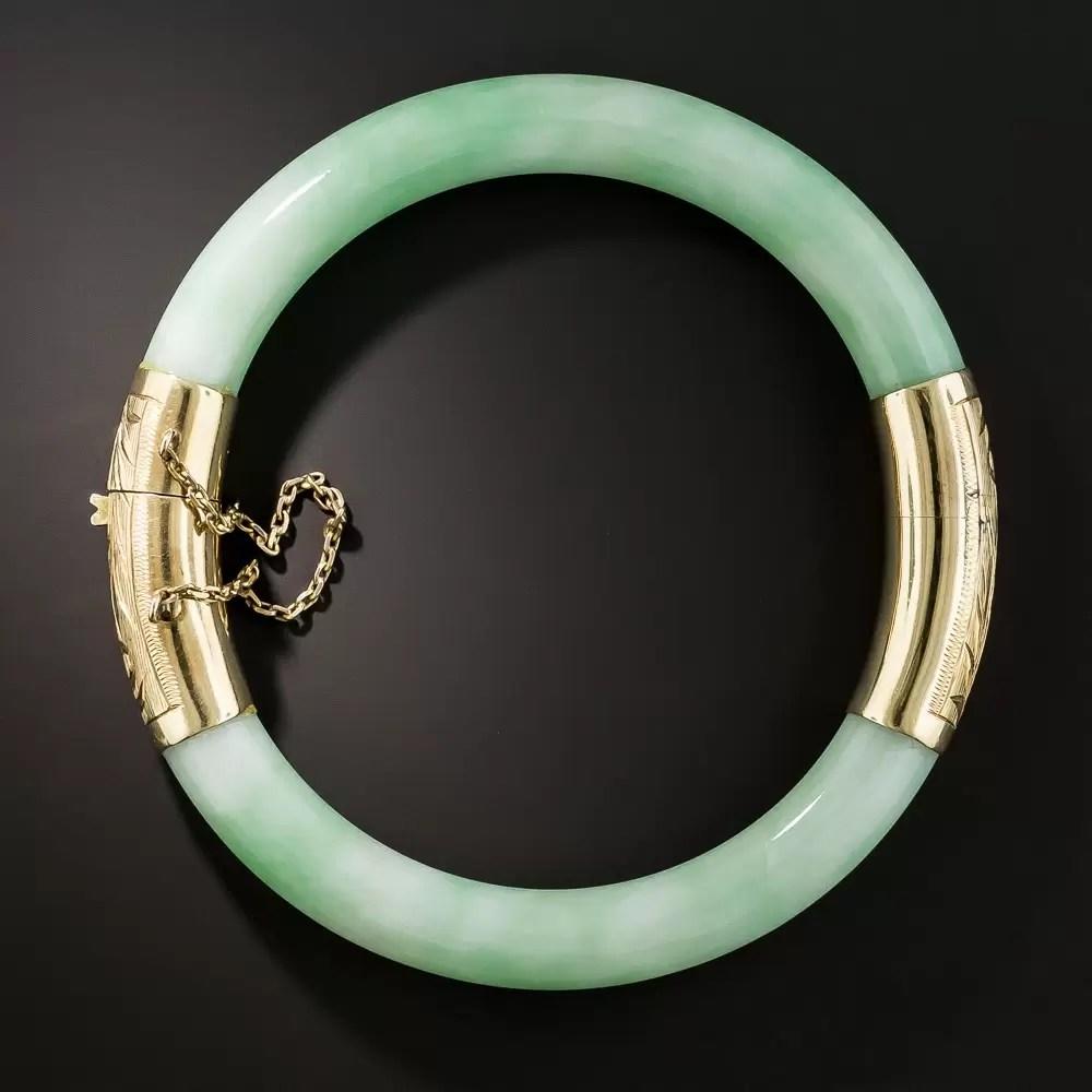 Vintage Natural Jadeite Hinged Bangle Bracelet