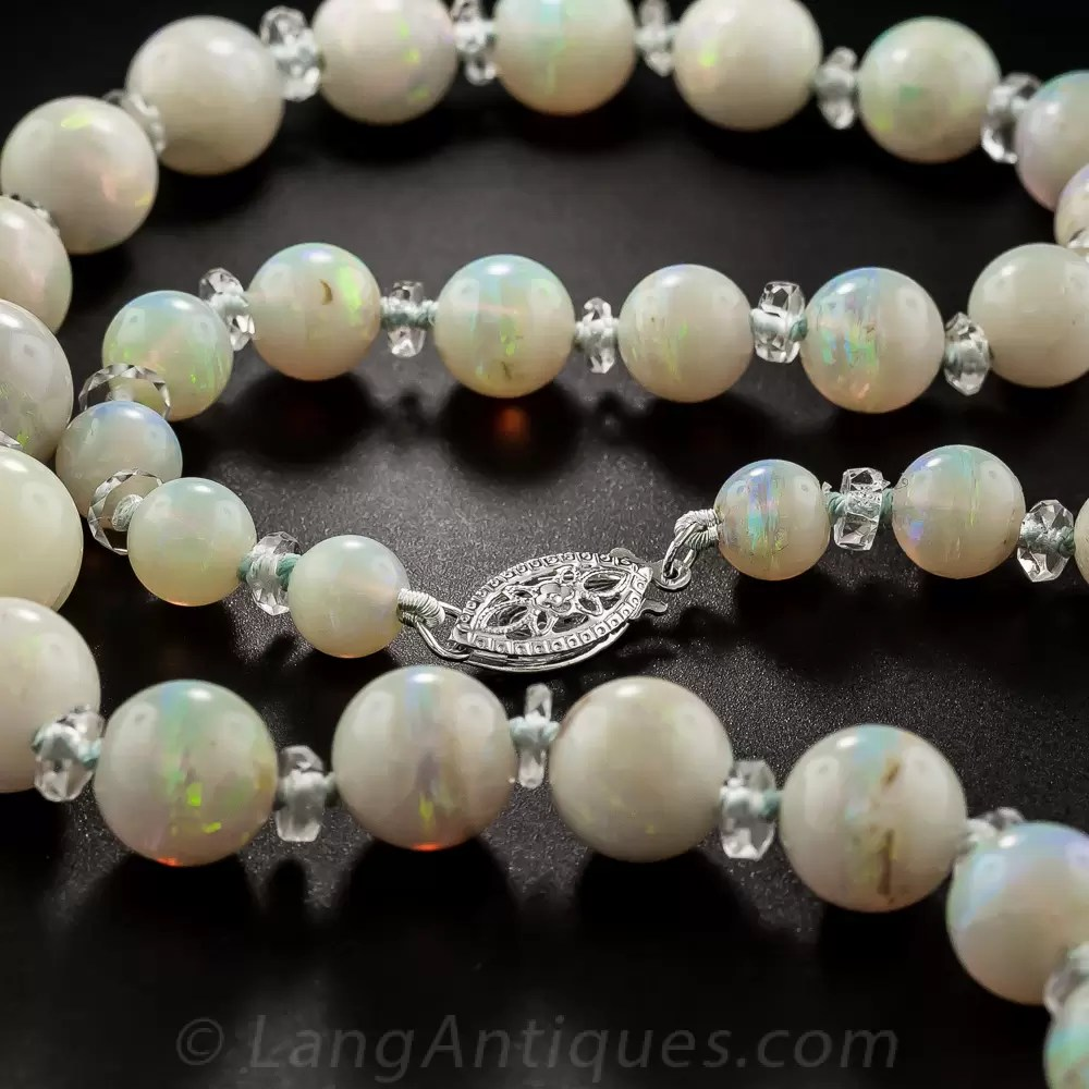 Vintage Opal Bead Necklace