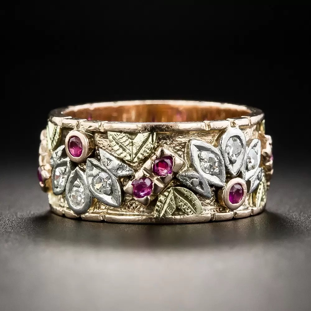 Vintage Ruby And Diamond Wedding Band Size 7