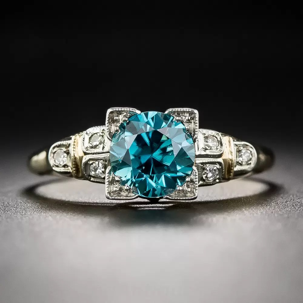 Vintage TwoTone Gold Blue Zircon Ring