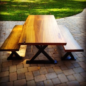 Cypress Live Edge Table and Benches