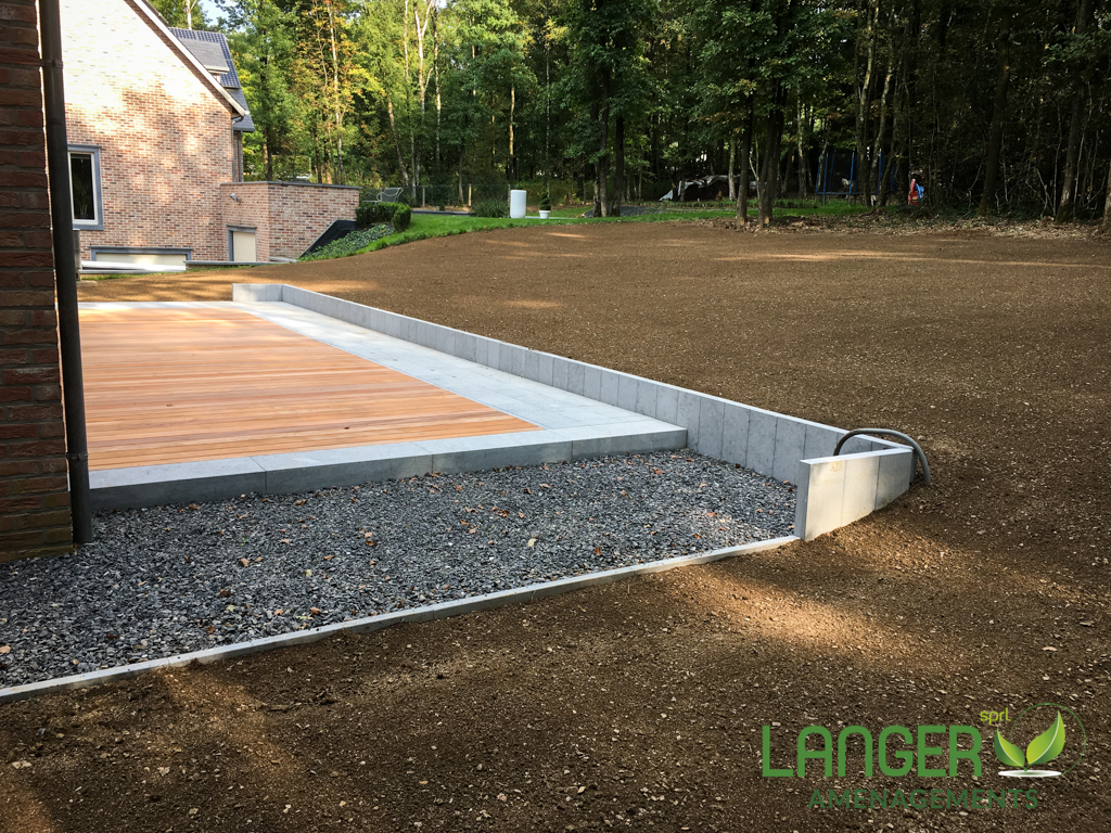 Terrasse pierre et bois  Langer Amnagement SPRL