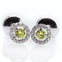 Green Diamond Earrings - Natural Colored Diamond Jewelry