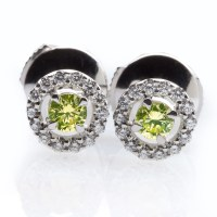 Green Diamond Earrings - Colored Diamond Jewelry - Natural ...