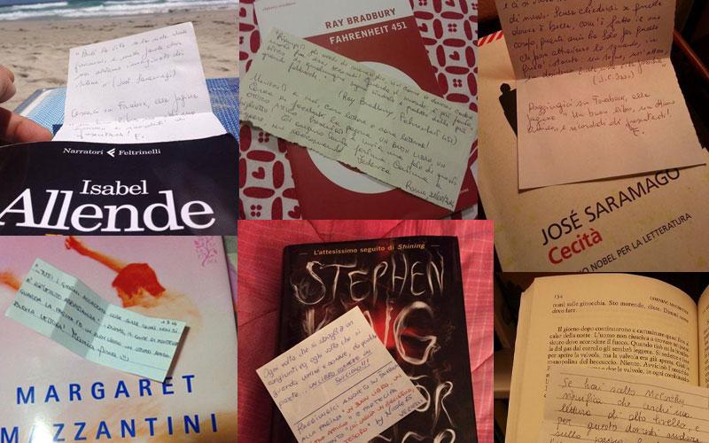 """Alcuni dei biglietti postati dai lettori sulla pagina Facebook """"Un buon libro, un ottimo amico"""""""