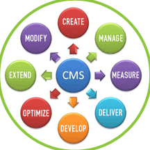 Process circle showing content management system in the middle and circles around it showing create, optimize, develop, deliver, etc