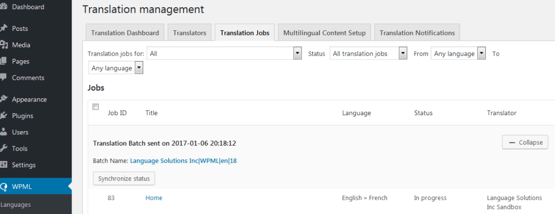 WPML Translation Job Status