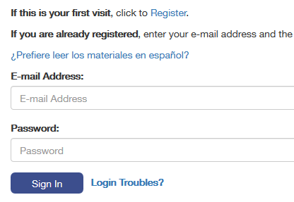 Example of online portal translation