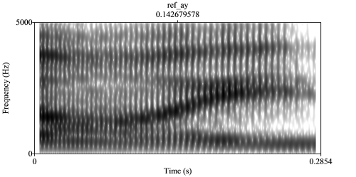 black and white spectrogram of diphthong /ɑɪ/