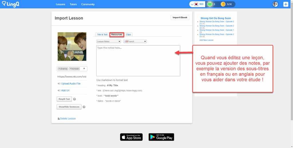 Comment importer des contenus de Viki dans LingQ : vous pouvez également ajouter la traduction en français ou en anglais dans les notes de la leçon