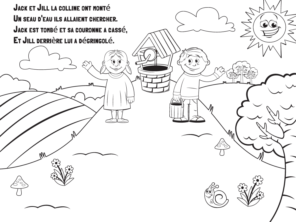 Jack And Jill Nursery Rhyme Colouring Pages