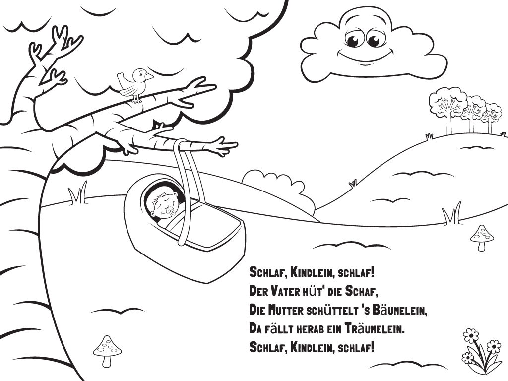 Rock A Bye Baby Coloring Page Sketch Coloring Page
