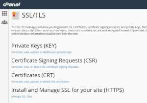 Menu Options in the CPanel SSL Security App