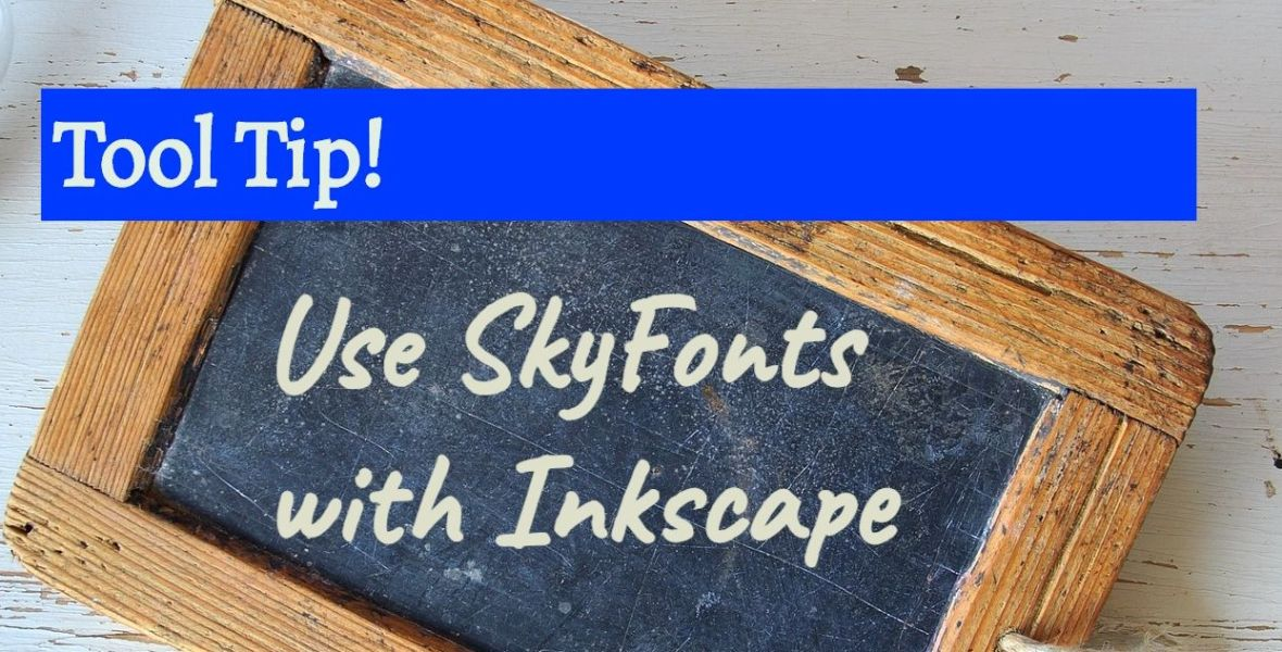 "A lightbulb and a chalkboard with the text ""User Skyfonts with Inkscape"""