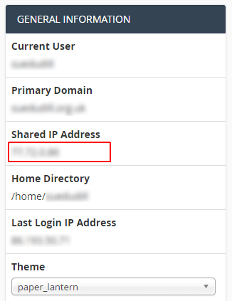 General Information panel from CPanel, showing Current User, Primary Domain, Shared IP Address, Home Directory, and Last Login IP Address for your server