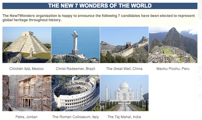 7 New World Wonders