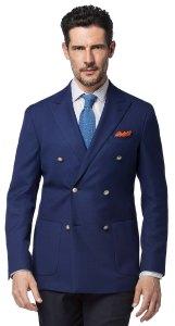 Costume dépareillé classique : veste croisée bleue et pantalon gris foncé