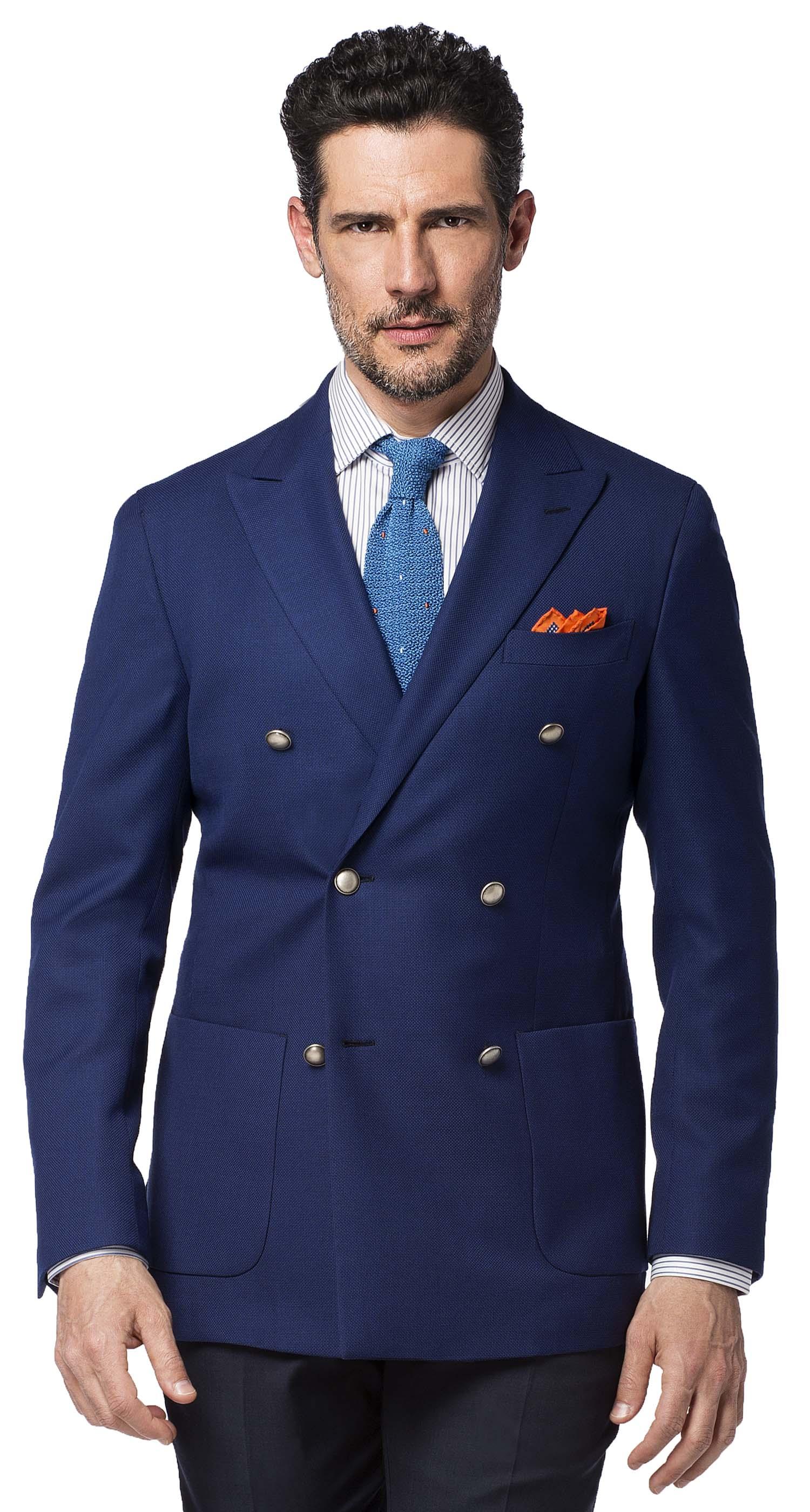 Costume dépareillée classique   veste croisée bleue et pantalon gris foncé 5f48470d63a