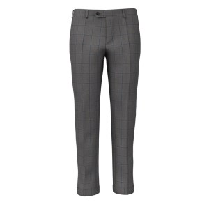 Grey Blue Overcheck Trousers by Loro Piana