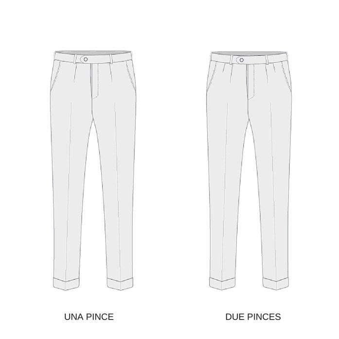 Exemples de pantalons à une ou deux pinces