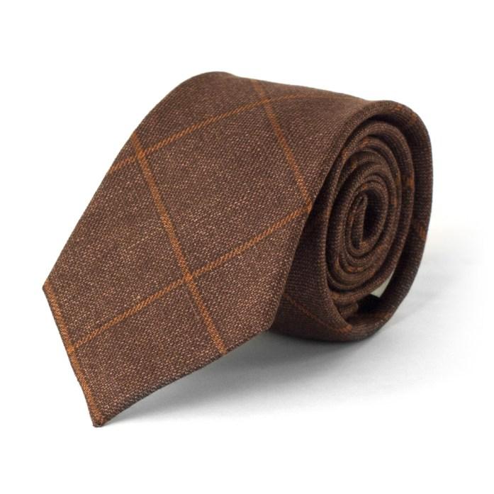 cravatta marrone in lana e lino