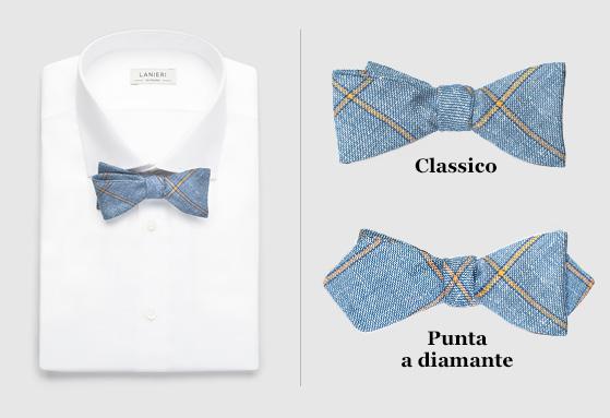 A sinistra un papillon indossato su una camicia bianca; a destra papillon classico e papillon a punta di diamante