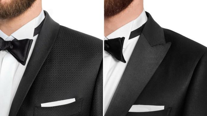 Dettaglio smoking su revers giacca: a scialle e a lancia