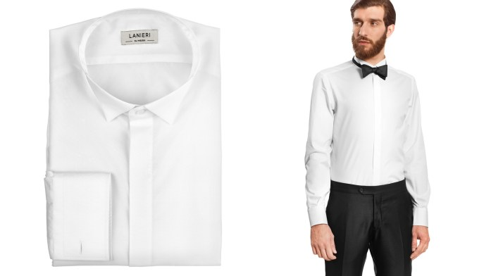 camicia bianca con colletto diplomatico per smoking e come veste con papillon nero indossato