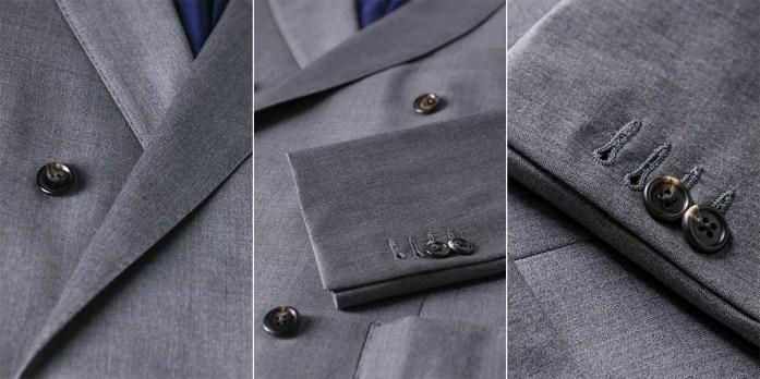 Particolari giacca su misura grigia: baveri, botttoni, e maniche