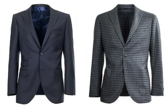 Men's jacket and blazer compared side by side: on the left a blue lined jacket; on the right a unlined checkered blazer
