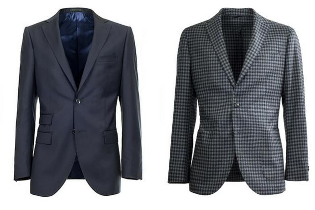 Giacca e blazer da uomo a confronto fianco a fianco: a sinistra un giacca blu foderata; a destra un blazer a scacchi sfoderato