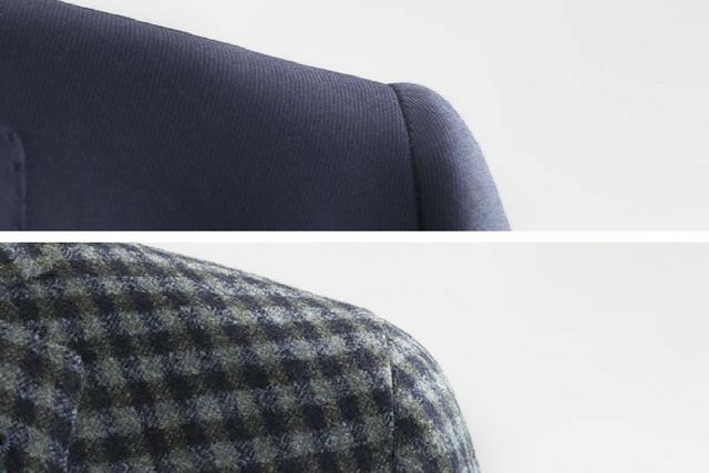 Spalla di una giacca e di un blazer da uomo a confronto: in alto la spalla più rotonda e piena di una giacca; in basso la spalla più morbida di un blazer