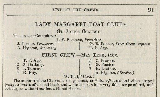 "The first use of the term ""blazer"" in reference to the ""blazing red"" blazers of the Lady Margaret Boat Club, Cambridge"