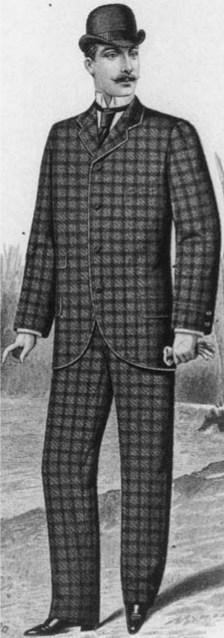 Abito maschile con giacchetta a sacco in tessuto quadrettato, Inverno 1892, Coll. Bertarelli, Milano