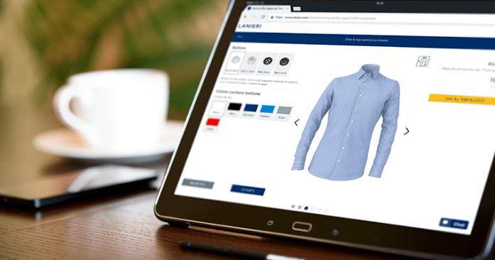 Configuratore 3D online per personalizzare camicie da uomo su misura su tablet