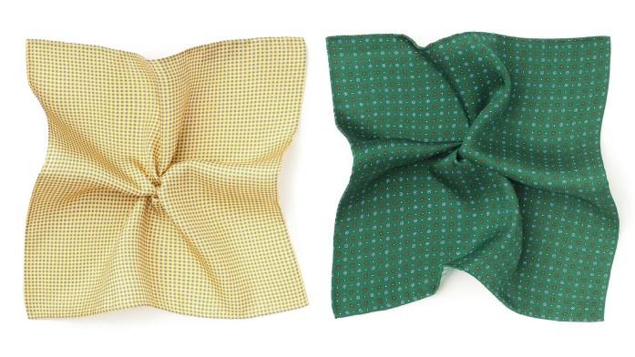 Una pochette gialla affiancata ad una pochette verde