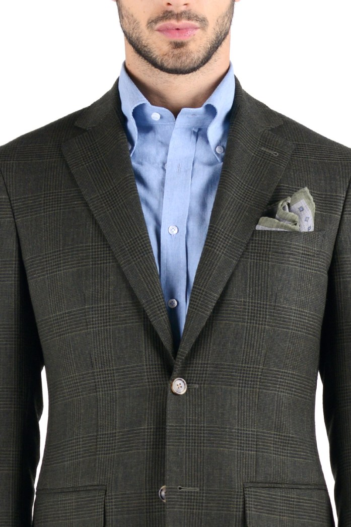 Classic notched lapel on Prince of Wales two-button blazer