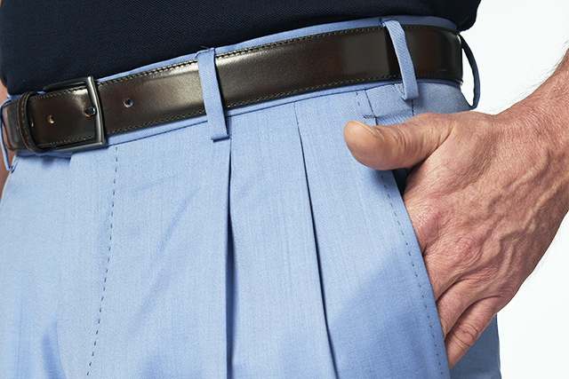 Light blue man's trousers with pleats tailored by Lanieri