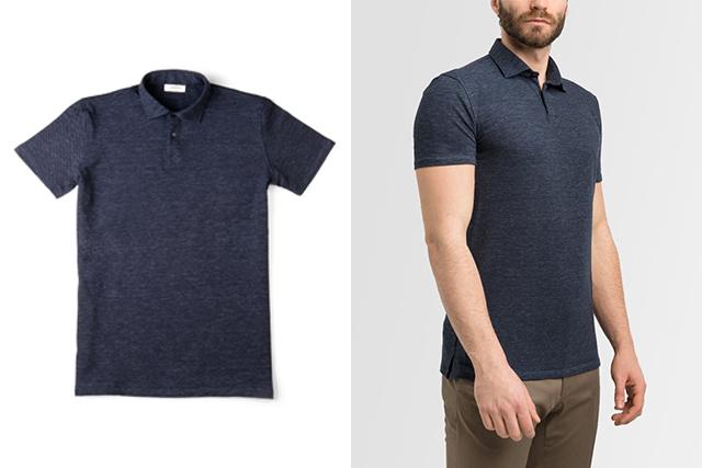 Polo Lanieri: a sinistra una polo blu melange con collo a camicia e maniche corte; a destra la stessa polo indossata