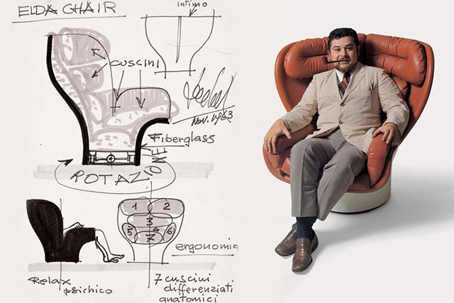 Schizzo ideazione poltrona Elda di Joe Colombo e immagine Joe Colombo seduto sulla poltrona