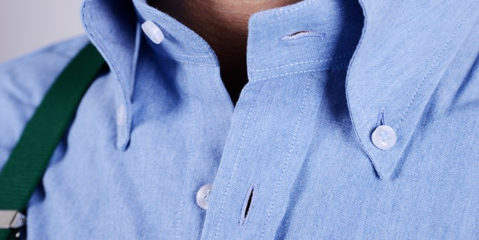 Detail of a custom shirt with standard placket