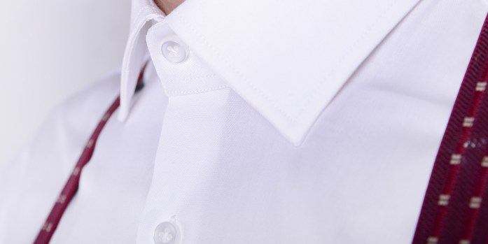 Detail of a custom shirt with a French placket