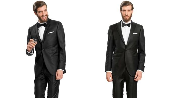 Uomo in due pose, indossa uno smoking uomo nero, camicia con collo diplomatico, papilllon nero e pochette bianca.
