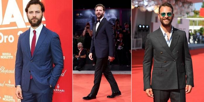 Alessandro Borghi in tre diversi outfit