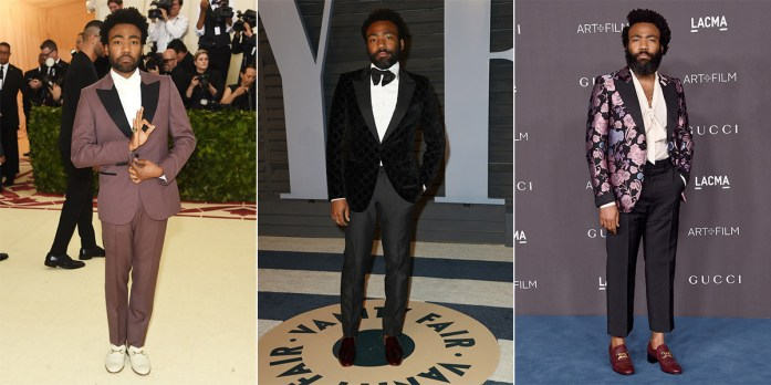 Donald Glover in tre diversi outfit