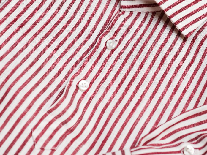 Popover cannon on white and red striped shirt