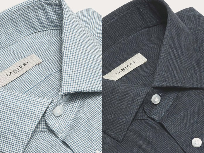 On the left, a microdesign stretch merino wool shirt with white and blue checks; on the right a blue Prince of Wales flannel shirt