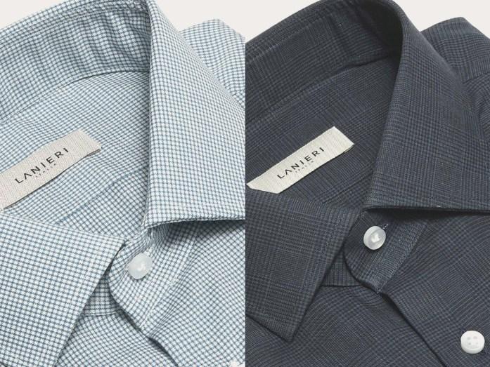 À gauche, une chemise en laine mérinos stretch microdesign à carreaux blancs et bleus; à droite une chemise en flanelle Prince de Galles bleue