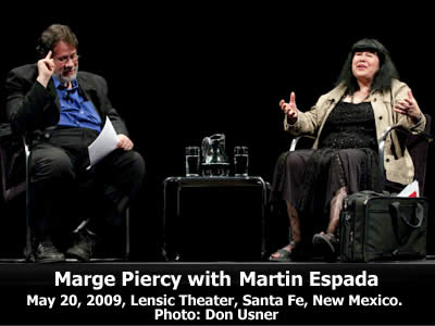Marge Piercy read from her work and joined in conversation with Martin Espada at the Lensic Theater in Santa Fe, New Mexico, Wednesday, May 20, 2009. Photo: Don Usner