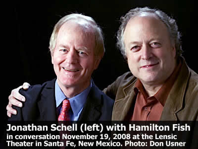Jonathan Schell (left) read from his work and joined in conversation with Hamilton Fish at the Lensic Theater in Santa Fe, New Mexico, Wednesday, November 19, 2008. Photo: Don Usner